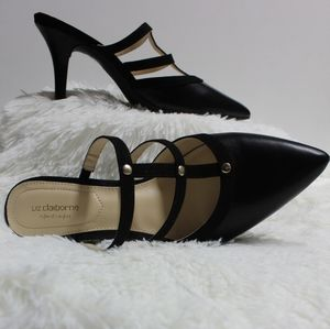 LIZ CLAIBORNE ~ pull on pointed toe heel pumps (8)